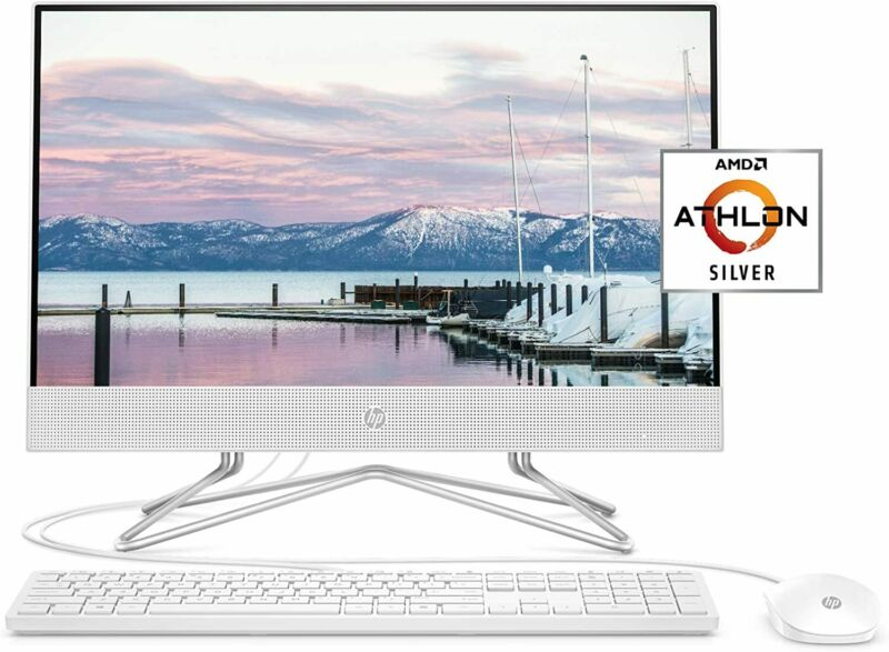 """Hp 22"""" Amd Athlon Silver 3050u 4gb/256gb Ssd W10 All-in-one Desktop Computer Pc"""
