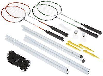 Four Player Outdoor Garden Badminton Set Rackets Net Posts & Shuttlecocks TY9934