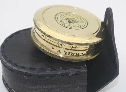 Antique Collectible Frost Poem Engraved Compass with Leather case Halloween Gift