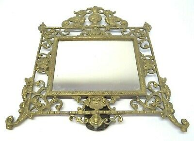 Antique Old Brass Metal Decorative Free Standing Rectangular Tabletop Mirror