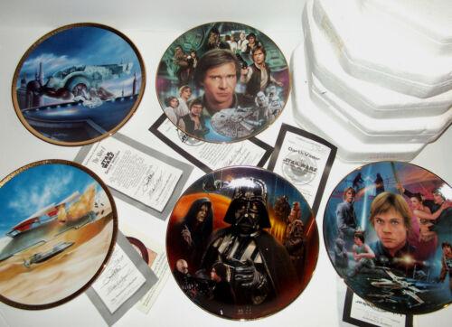 Hamilton Collection Star Wars Plates Luke Skywalker Han Solo Darth Vader Slave I