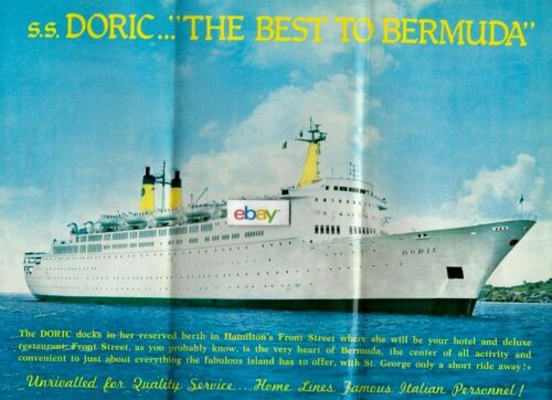 HOME LINES SS DORIC THE BEST TO BERMUDA BROCHURE & DECK PLANS 6/1979