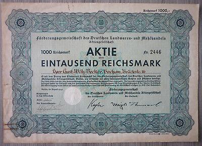 Aktie, Förderung des deutschen Landwaren und Mehlhandels 1942         (Art.3180)