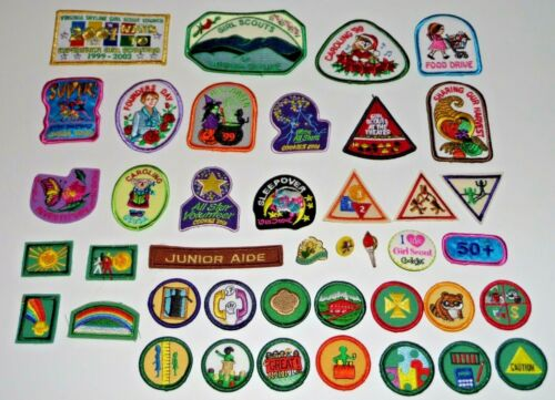 Girl Scout Badges Patches Pins Halloween Caroling Cookies Round Triangle