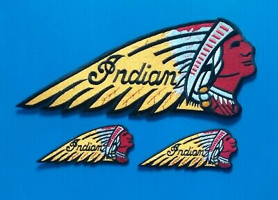3 Embroidered Sew/Iron On AMERICAN INDIAN MOTORCYCLE Patches W/ FREE SHIPPING