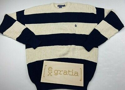 Nautica Men's Knit Pullover Sweater Cotton Blue/Cream Size XL NEW VINTAGE