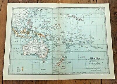 1903 large colour fold out map titled -  oceanica !