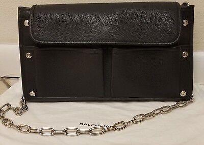 BALENCIAGA Tool Leather Clutch Bag convertible BLACK  NEW! Shoulder chain