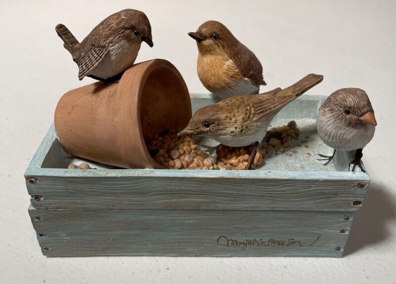 Marjolein Bastin Hallmark Small Ceramic Box Birds Eating Seeds Saying Preowned