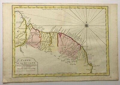 GUIANE SURINAM 1773 NICOLAS BELLIN NICE ANTIQUE MAP 18TH CENTURY OLD COLORS