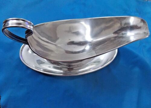 Antique Meriden Britannia Co Sterling Silver 1850 Gravy Boat Server & Dish