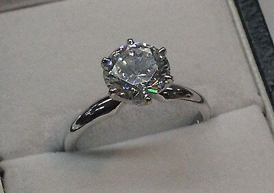 Solitaire Engagement Ring, 1.25 CT Round, 14K White Gold