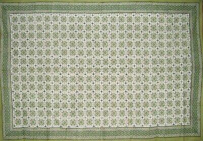 "Tile Block Print Cotton Tablecloth 86"" x 60"" Green"