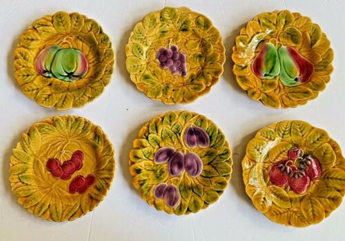 Sarreguemines Majolica French Pottery Dessert Plates Lot of 6 Different