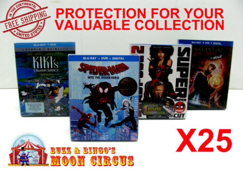 25x BLU-RAY WITH SLIPCOVER (SIZE A) - CLEAR PROTECTIVE BOX PROTECTOR SLEEVE CASE