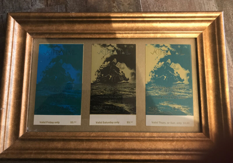 """Jethro Tull 3 Framed Unused May 1970 Fillmore West Tickets Free Shipping """"MOSES"""""""