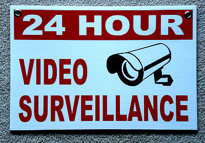 1 24 Hour Video Surveillance Coroplast Sign 12x18 Wgrommets New White Security