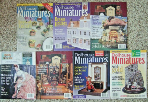 LOT OF 7 DOLLHOUSE MINIATURES MAGAZINES FROM 1998 AND 2000 GOOD CONDITION