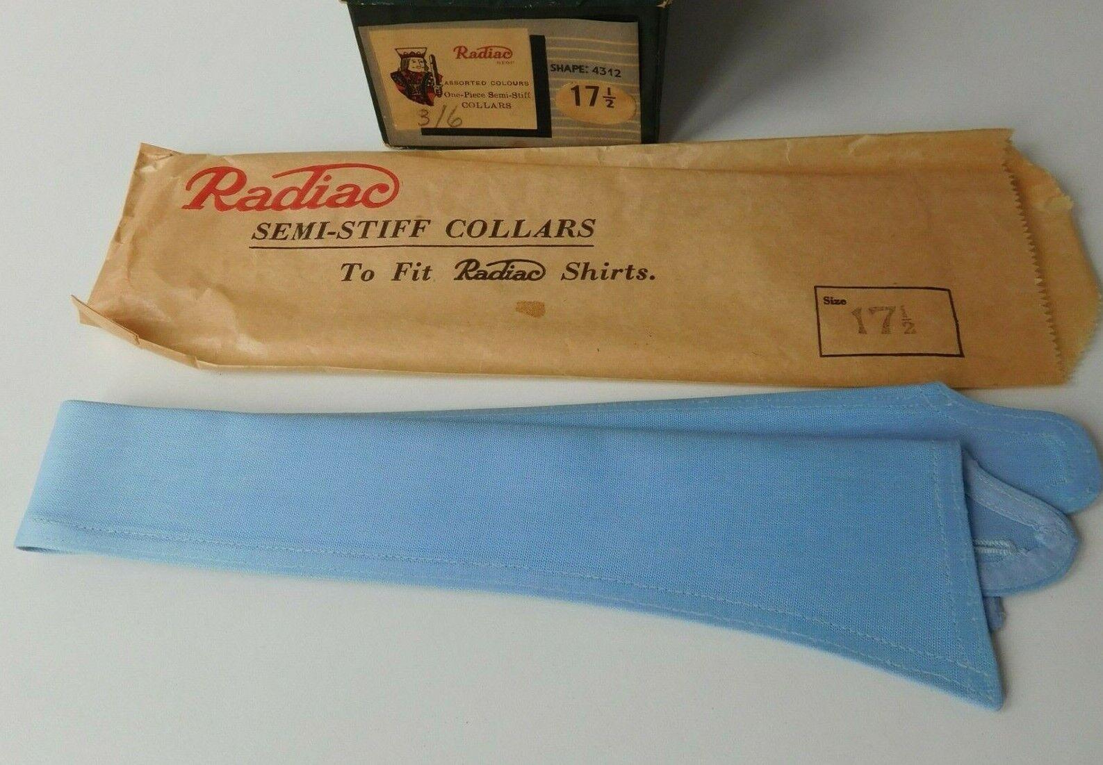 Vintage Radiac blue shirt collar size 17.5 semi-stiff UNUSED detachable perfect