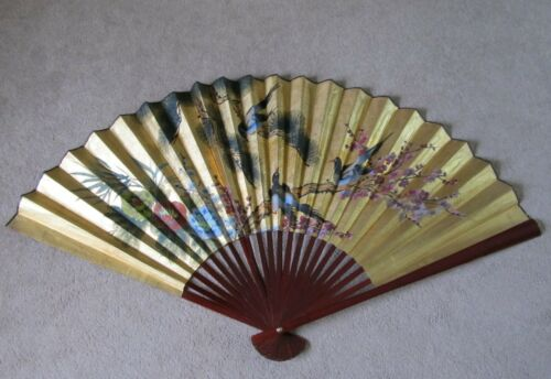 """VTG Large Asian Fan Wall Art Hand Painted 62""""X36"""" Gold w/ Birds & Floral"""