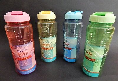 Portable Translucent Clear Plastic Water Bottle Flip-Top Lid Wide Mouth BPA FREE](Clear Plastic Water Bottles)