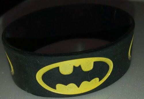 "1x BATMAN Black/Yellow Silicone Bracelet 1"" Wide - U S Seller"