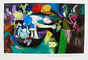 Pablo-Picasso-NIGHT-FISHING-AT-ANTIBES-Estate-Signed-Numbered-Small-Giclee