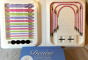 Pastel Corlored Denise Interchangeable Crochet Hooks Pink Kit Tunisian + Gift