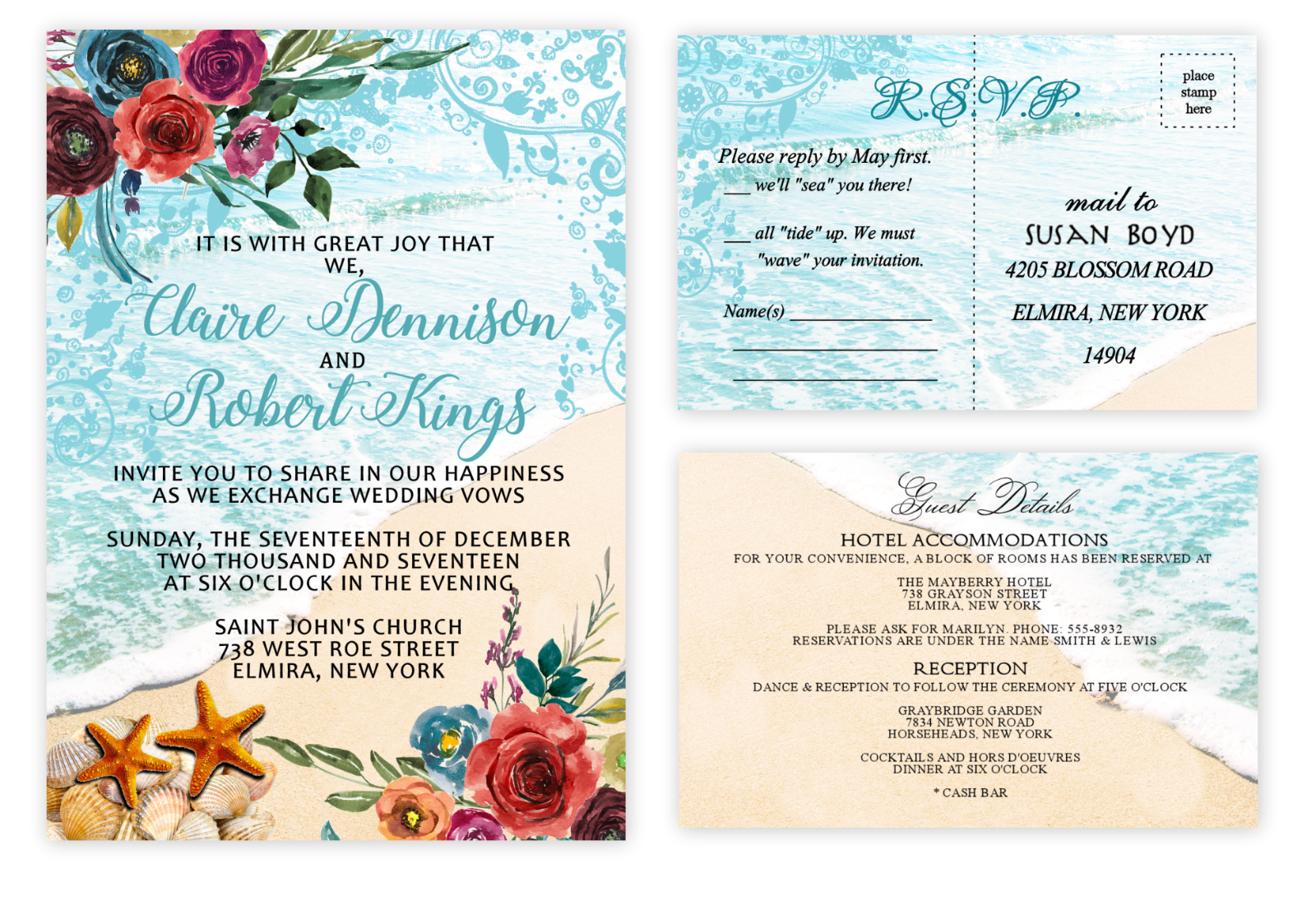 Beach Seashell Wedding Invitations with RSVP and Extra -