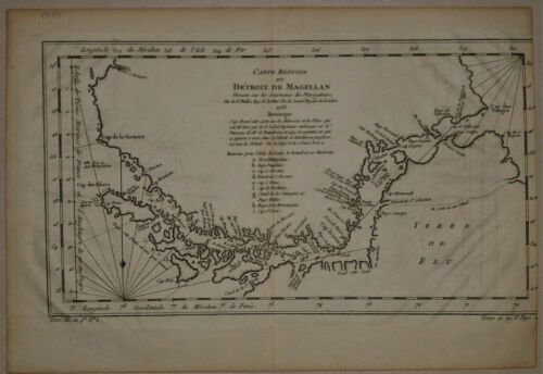 1753 Genuine Antique map Straights of Magellan, Patagonia, S America. by Bellin