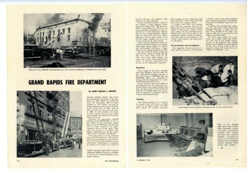 1959 2 Pg. Mag. Story & Pics: Grand Rapids Michigan Fire Dept. Weiss Bros Fire