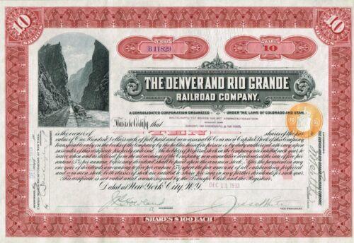 USA THE DENVER AND RIO GRANDE RAILROAD stock certificate/bond