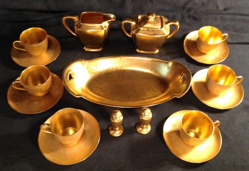 PICARD ROSE & DAISY Gold Encrusted 17PC COFFEE LUNCHEON SET ARZBERG WHEELING +
