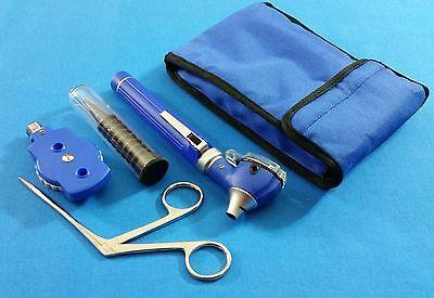 Blue Fiber Optic Otoscope Ophthalmoscope Led Diagnosticalligator Ent Forceps