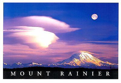 Mount Rainier Washington Postcard Full Moon Snow Capped Mt Clouds New