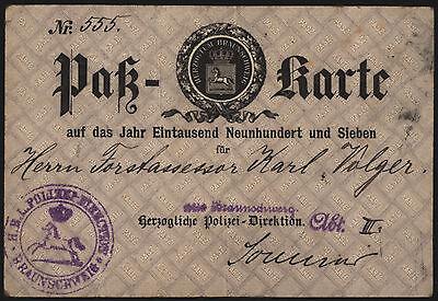 RARE!! Pass Karte 1907 Herzogtum Braunschweig Travel Passport Duchy of Brunswick