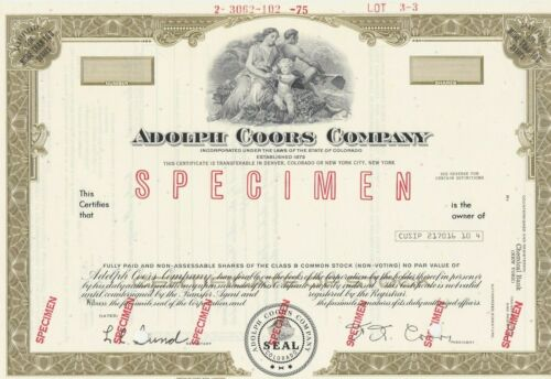 ADOLPH COORS COMPANY SPECIMEN STOCK CERTIFICATE SCARCE COLORADO BREWERY 1975