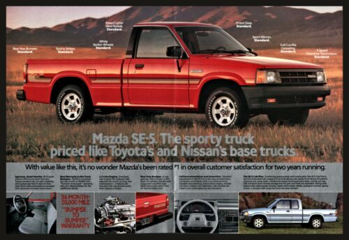 1988 MAZDA SE-5 Red Pickup Truck Pull-out Centerfold Photo AD