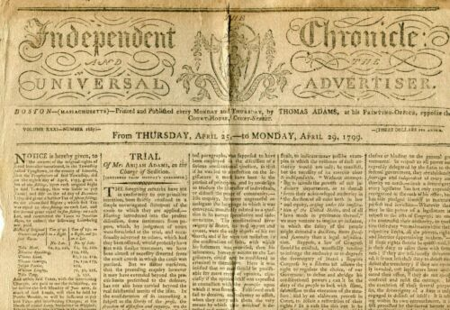1799 NEWSPAPER  INDEPENDENT CHRONICLE AND ADVERTISER BOSTON MA  2 PGS LOTS OF AD