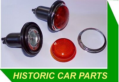Pair 2 6v AMBER FLASHER LIGHT Assy Round 6 VOLT 1940 70s replaces Lucas L488