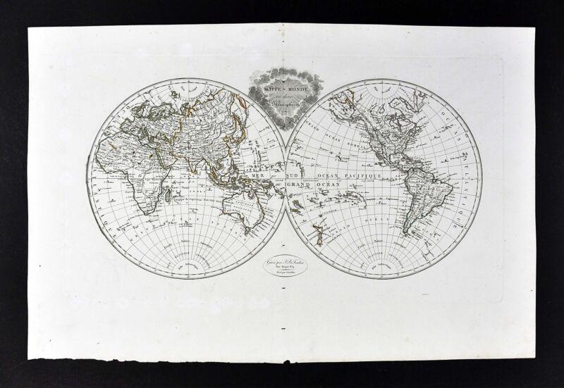 1812 Malte Brun Tardieu Map World in Hemispheres - America Asia Australia Europe