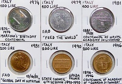 CIRCULATED ASS/'T DATES EXCELLENT CONDITION 10 RARE ITALY 100 LIRE COINS LOT OF