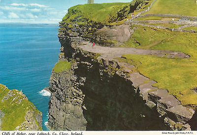 CLARE, IRELAND; CLIFFS OF MOHER  1970S vintage POSTCARD ; used NOT POSTMARKED
