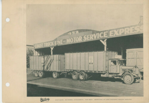 1930s Sterling Trucks Coast Truck Line Motor Service Express Moving Van Photo
