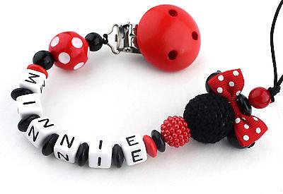 Schnullerkette mit Namen Minnie Mouse rot Nucki Mädchen auch Doppelnamen