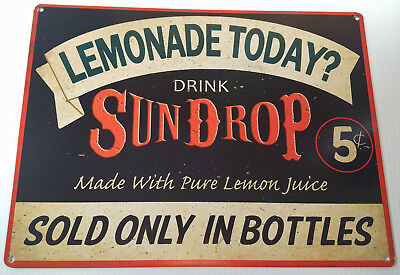 DRINK SUNDROP GOLDEN GIRL COLA 5 CENTS SOLD ONLY N BOTTLES HEAVY DUTY METAL SIGN