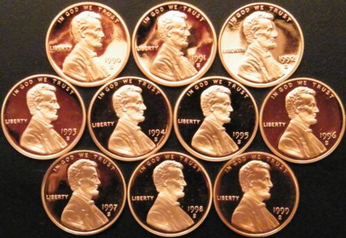 1990-1999 S Lincoln Memorial Cent Gem Deep Cameo Proof Run 10 Coin Set US Mint