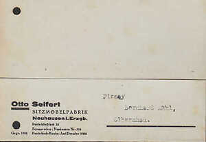 neuhausen postkarte 1946 otto seifert sitz m bel fabrik. Black Bedroom Furniture Sets. Home Design Ideas