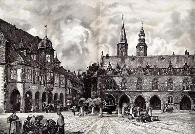 Marktplatz in Goslar XXL Kunstdruck 1904 von Hermann Braun * † Hausberge Minden