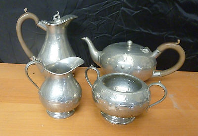 Arts & Crafts English Pewter Tea Set by A.M & S Ltd